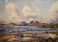 "James Stirling Gillespie, (1908-1993 Scottish), watercolour: ""The Paps of Jura from Kilberry""."