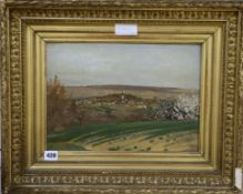 French School, oil on canvas, Village landscape with blossoming trees, indistinct Atelier stamp 26 x