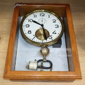 A French wall clock with oak case by Brillie, electromagnetic case 50 x 37cm