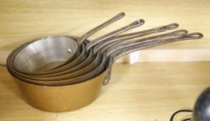 A set of six graduated copper saucepans