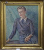 Continental School, oil on board, Portrait oil of a young man, initialled and dated 1939 60 x 50cm
