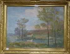 E. Souve, oil on canvas, French landscape cottage beside a lake and woodland, signed and dated