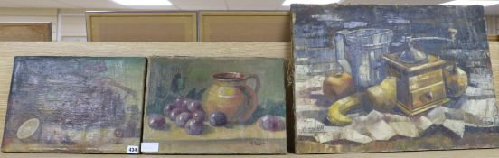Three Continental oils on canvas, Still lifes largest 46 x 65cm all unframed