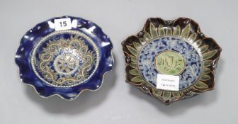 A Doulton Lambeth wavy rim dish by George Tinworth, c.1885 and a Doulton Lambeth petal-lobed dish by