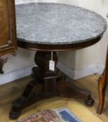 A French Empire mahogany centre table, with circular grey marble top, on hexagonal baluster stem and
