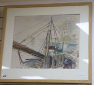 Stuart Maxwell Armfield (1916-2000) ink and watercolour, Fishing boat in harbour, signed, 42 x