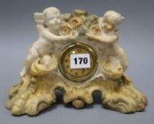 A painted alabaster cherub clock
