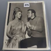 Star Trek (original series) interest - an official black and white press photo of a scene from the