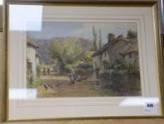 James George Bingley (1840-1920) watercolour, Children on a village lane, initialled 28 x 41cm