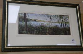 Marion Bradley, (b.1946), gouache, Lake viewed through trees, signed 18 x 44cm