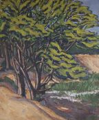 Greek School, oil on canvas laid on board, Study of trees, indistinctly signed and dated 1928 59 x