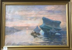 J. Andersenoil on canvasInuit boats beside icebergssigned17 x 25.5in.