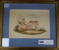 Victorian School, watercolour, Study of putti 16 x 22cm