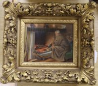 19th century English School, oil on panel, Huntsman at a fireplace
