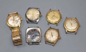 Six assorted gentleman's wrist watches including Lucerne and Romier.