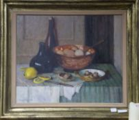 Mary Remington, oil on board, Tabletop still life, signed 50 x 60cm