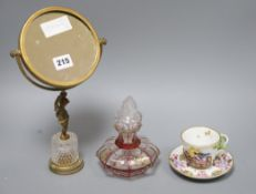 An early Herend cup and saucer overlaid glass scent bottle and a gilt glass mirror