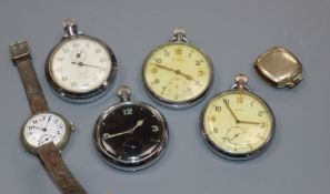 Three metal military pocket watches including Cyma, a military stopwatch and two wrist watches.