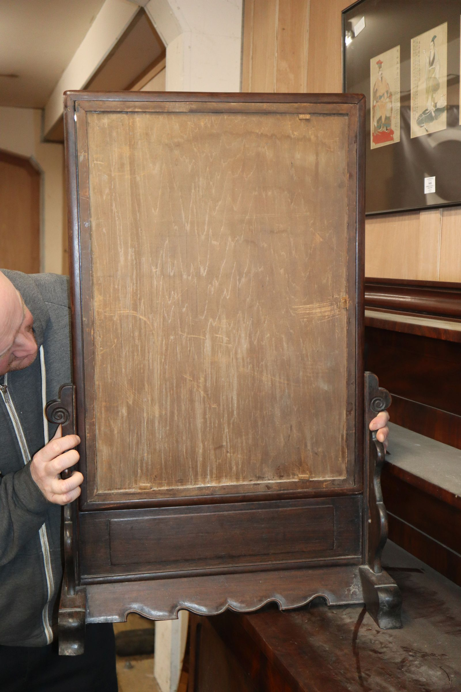 Lot 1837 - A Chinese hardwood table screen H.83cm