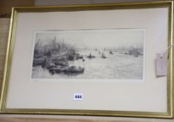 William Lionel Wyllie (1851-1931), etching, Shipping on the Thames, signed in pencil 16 x 37cm