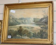 19th century English School, watercolour, Figures overlooking a lake 30 x 40cm