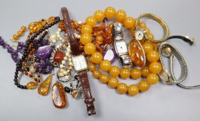 Mixed jewellery including amber, amethyst etc and a group of lady's wrist watches.