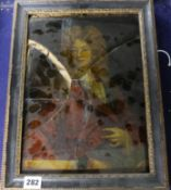 A 17th century oil on glass of 1st Earl of Halifax 34 x 24cm