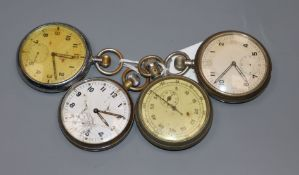 Four assorted metal cased military pocket watches.