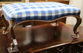 A large Victorian mahogany stool with blue gingham upholstered seat L.114cm