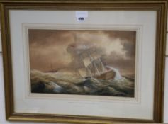Attributed to Charles Augustus Momewick, Snr. (fl.1820-1875), watercolour, Dutch vessel in heavy