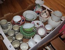 19th century ceramics including Welsh lustre teaware, Japanese eggshell porcelain teaware, a New