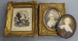 Two 19th century German or Austrian oval portrait miniatures on ivory of ladies and a Viennese '