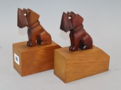 A pair of Art Deco novelty 'Scotland Terrier' book ends H.17cm