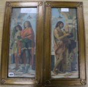 After Montagna, pair of colour prints, St. Nazarus & St. Celsus, Rowley Gallery frames overall 55