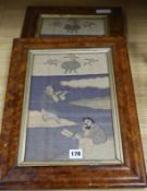Two Chinese kesi reversible figurative panels in maple frames W.21.5cm, H.31cm