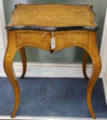 A French sycamore (?) work table W.60cm