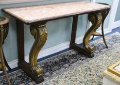 A George IV parcel gilt mahogany marble top console table W.156cm
