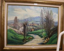 G. Rousselon, oil on canvas, Auvergne country scene, signed, 61 x 80cm