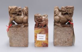 A pair of Chinese soapstone chops with shi shi and another tallest 19.5cm