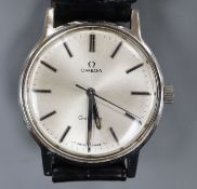 A gentleman's early 1970's stainless steel Omega manual wind wrist watch, movement c.601, on