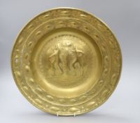 "17th century Nuremberg brass offering dish, etched verso ""To the use of Lexden Church as a Thank"