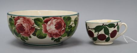 A Wemyss bowl and cup bowl diameter 19cm