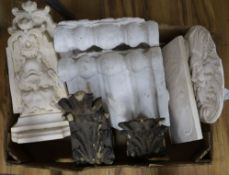 A quantity of plaster and wood corbels