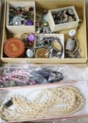 Assorted costume and other jewellery including Mexican 925 pill box, fob watch etc.
