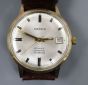 A gentleman's 1970's 9ct gold automatic wrist watch, retailed by Mappin, with baton numerals and