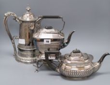 A plated 'The Tudor Patent Wine Cooling Cup', a plated tea kettle on stand and a plated teapot.