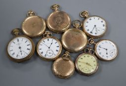 Nine assorted mainly gold plated pocket watches.