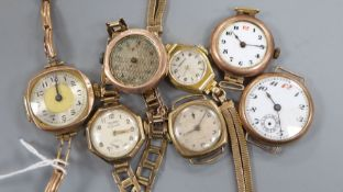 Seven assorted 9ct gold wristwatches, three with bracelets (a.f.)