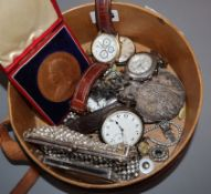 Three Victorian commemorative medallions, two silver pocket watches, two paste clip brooches and