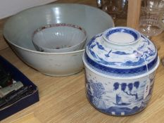 A Canton style blue and white tureen and cover, a large Chinese bowl and another bowl